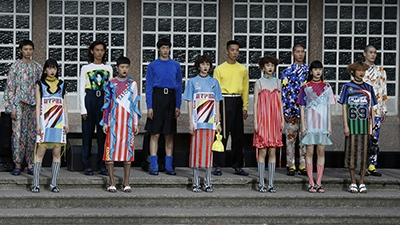 Kenzo's collection of attention-getting socks for next spring, unveiled in Paris last month. (Bertrand Guay/AFP)