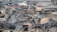 The area of Boston Flats, B.C. is seen after a wildfire ripped through the area earlier in the week on Tuesday, July 11, 2017.(Jonathan Hayward / THE CANADIAN PRESS)
