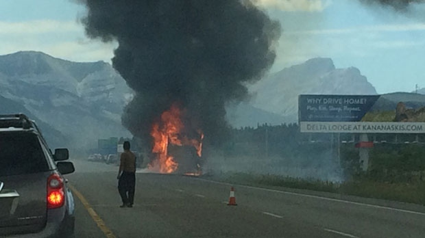 Saturday afternoon's motorhome fire on Highway 1, east of the Highway 40 overpass (photo: Elyse Demers)