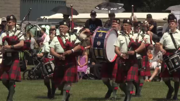 Pipers performing at the 2017 Cambridge Scottish Festival. (July 15, 2017)
