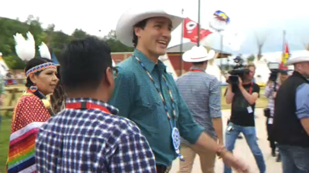 Prime Minister Trudeau visits the Calgary Stampede's Indian Village on July 15, 2017