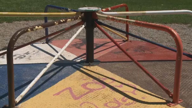 After fundraising for four years for playground equipment, a group of Cape Breton parents may lose it over a claim to land.