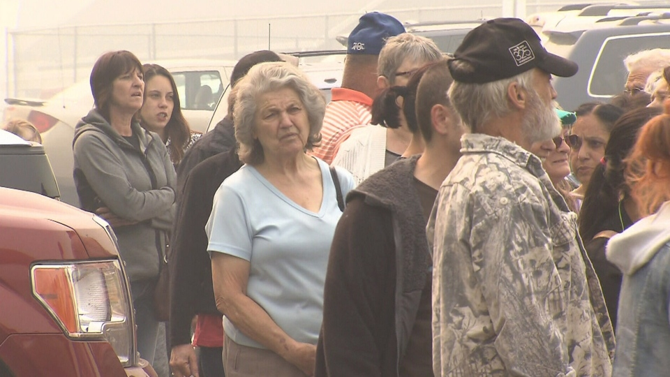 Wildfire evacuees are seen near Williams Lake, B.C. in this photo from July 15, 2017.