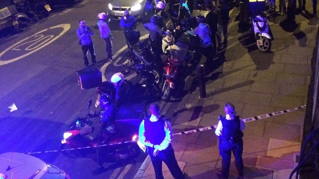 This is an image made available by Sarah Cobbold shows the scene of an acid attack in London early Thursday July 13, 2017. (Sarah Cobbold via AP)