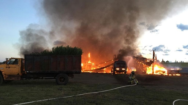 Saturday night's fire on a rural property in Priddis (photo courtesy: Ryan Kerr, Turner Valley)