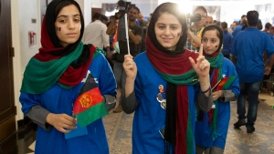 Afghan girls in U.S. for robotics competition