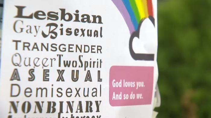 A local church decided to spread pro-gay messages days after homophobic posters were placed in some Edmonton bus shelters and boards.
