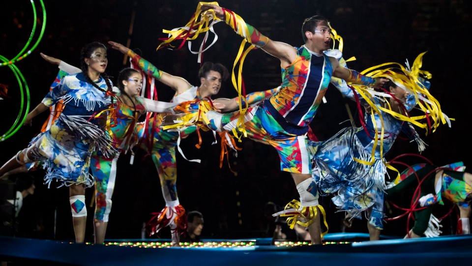 Dancers perform during the opening ceremony of the 2017 North American Indigenous Games, in Toronto on Sunday, July 16, 2017. (THE CANADIAN PRESS/Mark Blinch)