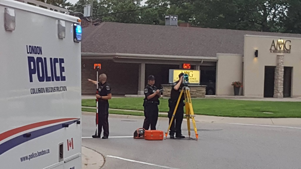 London police's Traffic Management Unit investigates the fatal crash on Ridout Street on Monday, July 17, 2017. (Justin Zadorsky / CTV London)