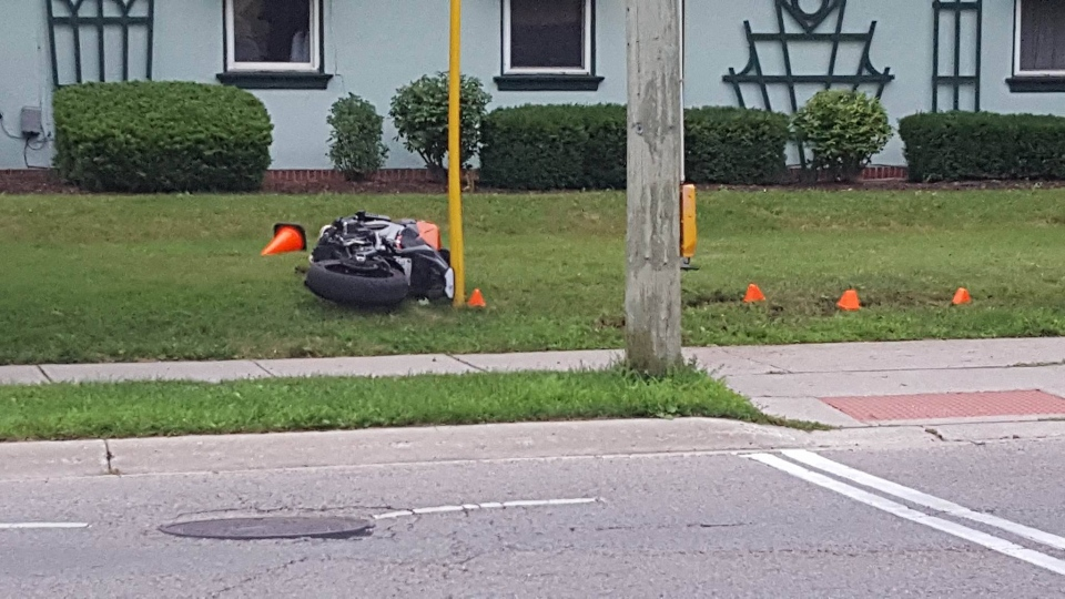 The motorcycle at the centre of a fatal crash on Ridout Street on Monday, July 17, 2017. (Justin Zadorsky / CTV London)