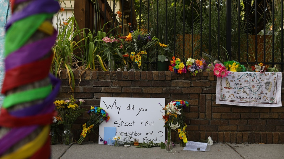 A memorial to an Australian woman who was shot and killed late Saturday by police, is seen Sunday evening, July 16, 2017 in Minneapolis. (Jeff Wheeler / Star Tribune via AP)