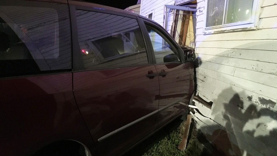 A 78-year-old man was taken to hospital after his van crashed into a home in Trenton, N.S. (New Glasgow Regional Police)