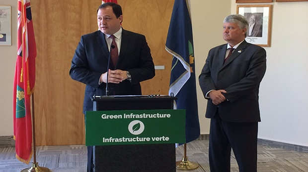 Sault Ste. Marie Mayor Christian Provenzano and Sault MP Terry Sheehen were on hand for a multi-million dollar funding announcement on Monday. (JairusPatterson/CTVNorthernOntario)