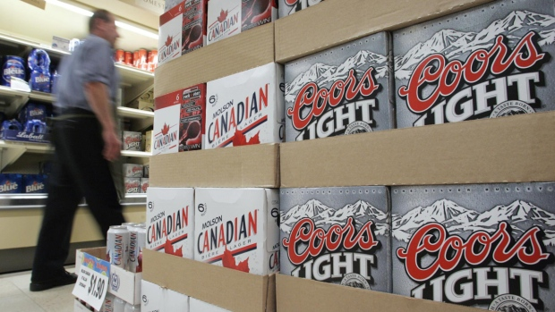 Cases of Coors and Molson beer