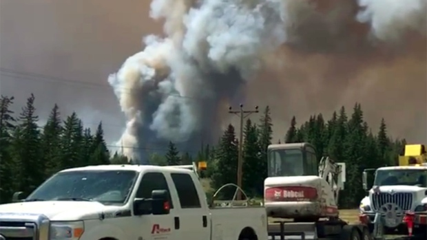 A wildfire near Williams Lake, B.C.