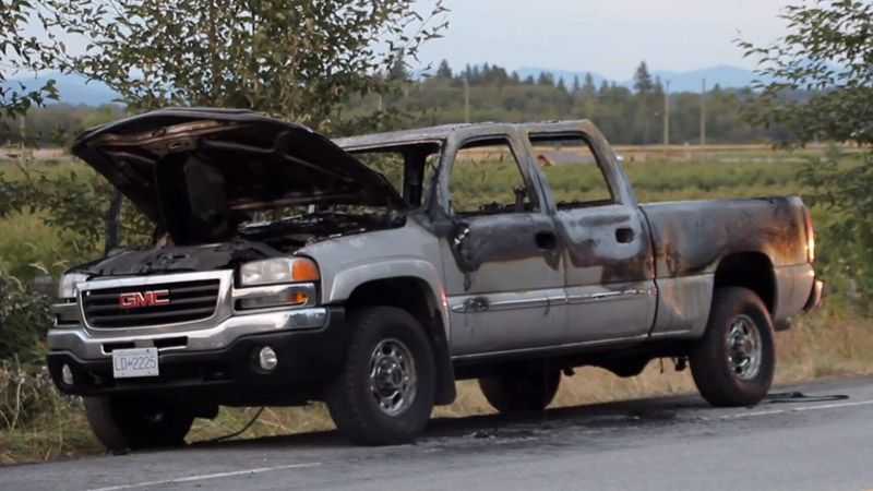 Mounties were called at approximately 6:30 p.m. on Sunday for reports of a vehicle on fire in the 3200-block of 176th Street.