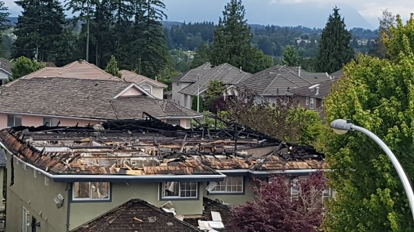 A damaged roof is seen in this photo posted to GoFundMe by Gavin Atwal.