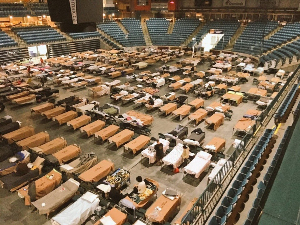 Cots are set up for evacuees at the Sandman Centre in Kamloops, B.C. on Sunday, July 16, 2017 in this handout photo. (HO, Jeff Putnam/The Canadian Press)