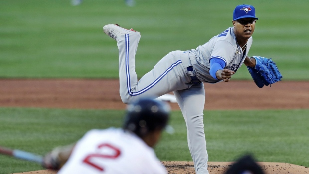 Marcus Stroman pitches against the Red Sox