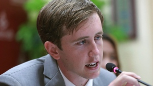 American Nathan Bartling, from Chino Hills, Calif., talks to reporters in Bangkok after he apologized for placing coins on a railroad track for a YouTube video in this Monday, July 17, 2017 photo. (AP Photo)