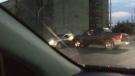Road rage incident on Cherry Street in Toronto