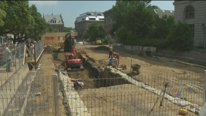 Montreal's former Parliamentary buildings are being uncovered near Pointe à Calliere museum