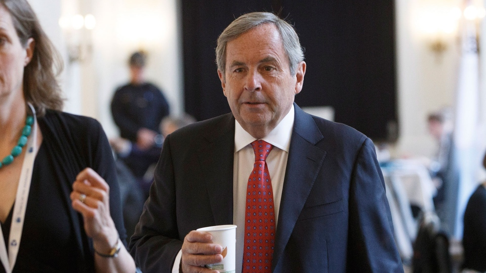 Canada's ambassador to the U.S. David MacNaughton makes his way to a press conference during the Council of Federation meetings in Edmonton Alta, on Tuesday July 18, 2017. THE CANADIAN PRESS/Jason Franson