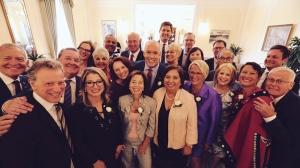 NDP Leader John Horgan poses with his cabinet appointees prior to being sworn in as B.C.'s next premier. July 18, 2017. (Twitter/@jjhorgan)