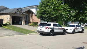 Police investigate a murder on Hasler Crescent in Guelph on Tuesday, July 18, 2017. (Nicole Lampa / CTV Kitchener)