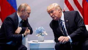 U.S. President Donald Trump speaks during a meeting with Russian President Vladimir Putin at the G20 Summit at the G20 Summit, Friday, July 7, 2017, in Hamburg. (THE CANADIAN PRESS / AP, Evan Vucci)