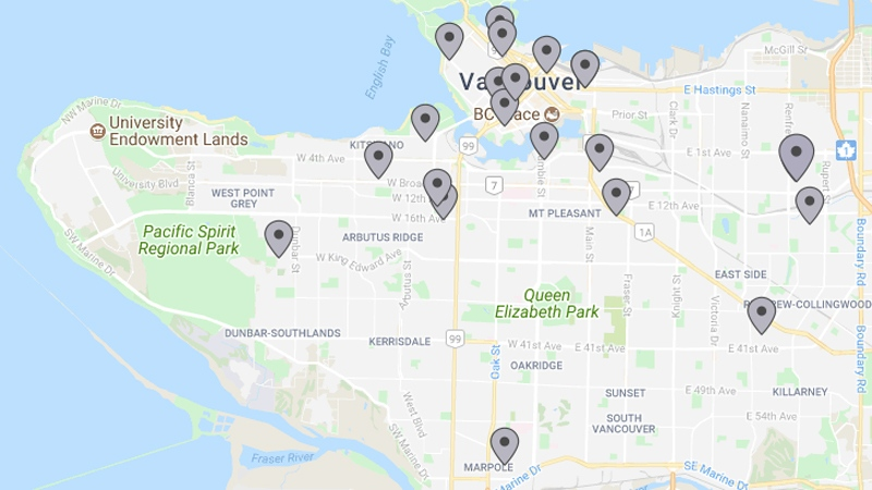 A map from PadMapper shows available apartments in Vancouver as of July 18, 2017 listed between $2,000 and $2,100.