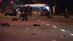 Debris from motorcycles is scattered across Pie IX Blvd. after a car driver smashed into them. The 18-year-old driver was arrested for street racing (CTV Montreal/Cosmo Santamaria)