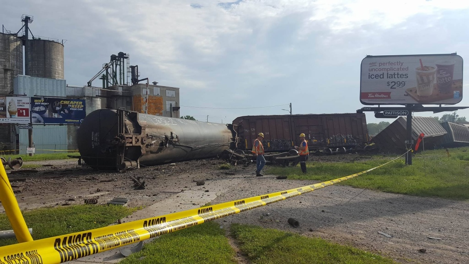 Several cars jumped the tracks in Strathroy on Wednesday, July 19, 2017. (Justin Zadorsky / CTV London)