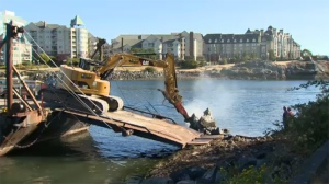 For the next two weeks, the Canadian Coast Guard is performing work in the harbour that includes demolition of existing structures, pouring new concrete foundations and installing new navigation towers. July 19, 2017. (CTV Vancouver Island)