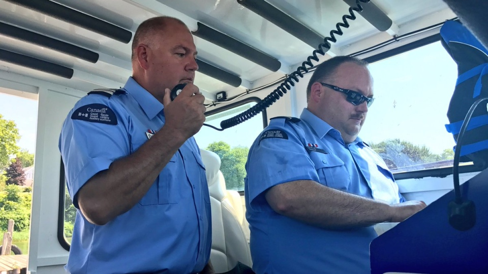 Jim Oakley and Mike Drexler of Colchester Guardian Rescue Vessel recount emotional Rescue of two men in Lake Erie. (Rich Garton / CTV Windsor)