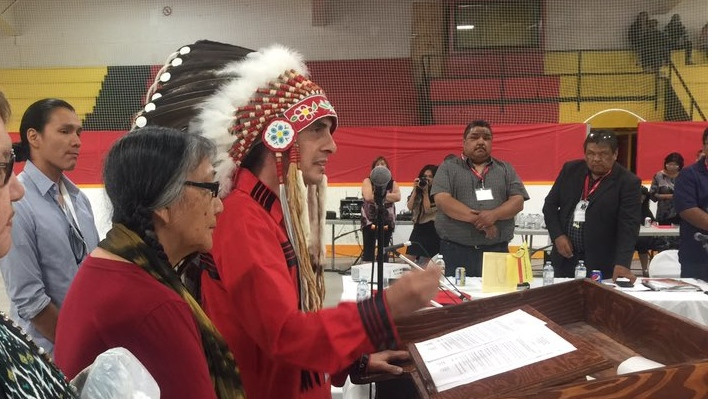 Arlen Dumas was elected at the annual general assembly Wednesday in Nisichawayasihk Cree Nation in Nelson House. (Source: Sheila North Wilson/Twitter)