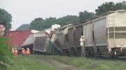 Massive cleanup underway after train derails