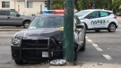 A Vancouver police cruiser was involved in a three-vehicle collision in Vancouver on Wednesday, July 19, 2017. (Pete Cline / CTV)