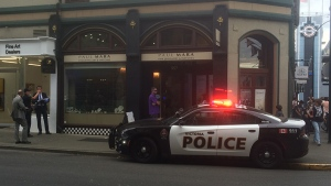 Police vehicles surround Paul Mara Jewellers following a robbery in downtown Victoria Wednesday, July 19, 2017. (CTV Vancouver Island)