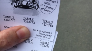 Duplicate tickets for Newfoundland's Chase the Ace lottery are seen in this July 19, 2017 photo. (Ryan Harding/NTV)
