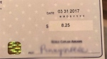 A photo of a royalty cheque posted by Drake on his Instagram page is seen in this undated photo. (HO, Instagram, @champagnepapi/The Canadian Press)