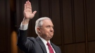 Attorney General Jeff Sessions is sworn-in on Capitol Hill in Washington, Tuesday, June 13, 2017, prior to testifying before the Senate Intelligence Committee hearing about his role in the firing of James Comey, his Russian contacts during the campaign and his decision to recuse from an investigation into possible ties between Moscow and associates of President Donald Trump. (AP Photo/J. Scott Applewhite)