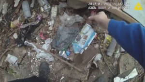 An image from police body camera video released by the Public Defender's Office. (source: Maryland Office of the Public Defender)