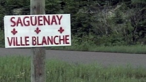 Signs reading 'Saguenay Ville Blanche' (Saguenay: White City) were posted around the city in 2014. In 2017, someone attached a sign with the same racist message onto the sign for a Catholic cemetery.