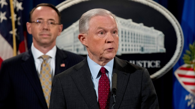 U.S. Attorney General Jeff Sessions and Deputy Attorney General Rod Rosenstein, left, at the Department of Justice, on July 20, 2017. (Andrew Harnik / AP)