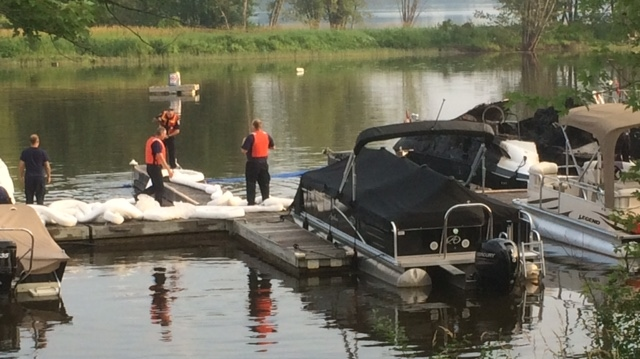 Three boats have been damaged at the Petrie Island Marina by an early morning fire on Thursday, July 20, 2017. (Jim O'Grady/CTV Ottawa)