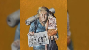 U.S. President Donald Trump is depicted as refugee by artist Abdalla Al Omar as part of his Vulnerability Series.