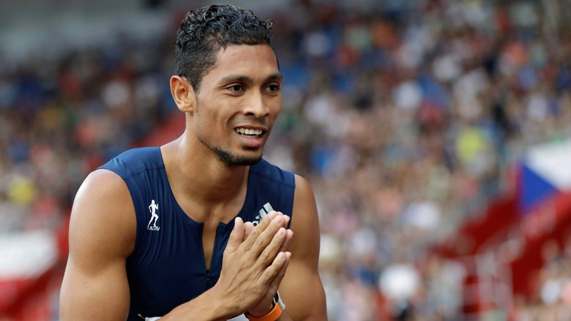 Wayde Van Niekerk from South Africa, celebrates his victory and the world's best time in the 300 meters men's event at the Golden Spike athletic meeting in Ostrava, Czech Republic, Wednesday, June 28, 2017. (AP Photo/Petr David Josek)