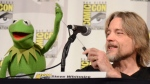 Kermit the Frog, left, and puppeteer Steve Whitmire in San Diego on July 11, 2015. (Tonya Wise / Invision / AP)