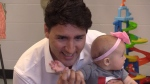 Prime Minister Justin Trudeau meets with families in Barrie, Ont. on Thursday, July 20, 2017. (CTV Barrie)